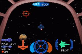 In game image of Wing Commander: Prophecy on the Nintendo Game Boy Advance.