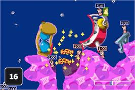 In game image of Worms World Party on the Nintendo Game Boy Advance.