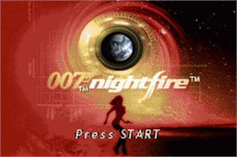 Title screen of 007: Nightfire on the Nintendo Game Boy Advance.