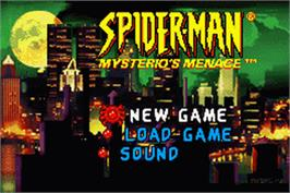 Title screen of 2 in 1: Spider-Man: Mysterio's Menace & X2: Wolverine's Revenge on the Nintendo Game Boy Advance.