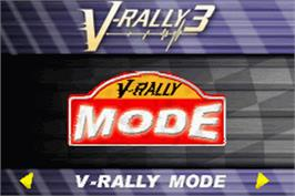 Title screen of 2 in 1: V-Rally 3 & Stuntman on the Nintendo Game Boy Advance.