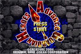 Title screen of Advance Guardian Heroes on the Nintendo Game Boy Advance.