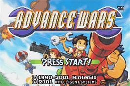 Title screen of Advance Wars on the Nintendo Game Boy Advance.