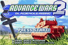 Title screen of Advance Wars 2: Black Hole Rising on the Nintendo Game Boy Advance.