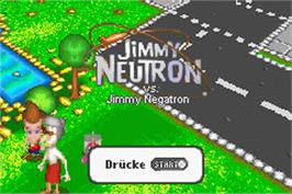 Title screen of Adventures of Jimmy Neutron: Boy Genius - Jimmy Neutron Vs. Jimmy Negatron on the Nintendo Game Boy Advance.