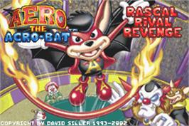 Title screen of Aero the Acro-Bat: Rascal Rival Revenge on the Nintendo Game Boy Advance.