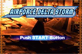 Title screen of Air Force Delta Storm on the Nintendo Game Boy Advance.