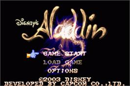 Title screen of Aladdin on the Nintendo Game Boy Advance.