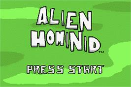 Title screen of Alien Hominid on the Nintendo Game Boy Advance.