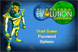 Title screen of Alienators: Evolution Continues on the Nintendo Game Boy Advance.