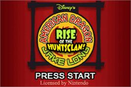 Title screen of American Dragon: Jake Long - Rise of the Huntsclan on the Nintendo Game Boy Advance.