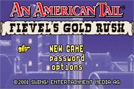 Title screen of An American Tail: Fievel's Gold Rush on the Nintendo Game Boy Advance.