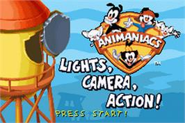 Title screen of Animaniacs: Lights, Camera, Action on the Nintendo Game Boy Advance.