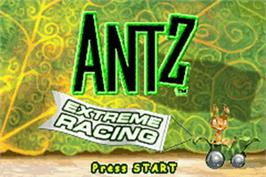 Title screen of Antz Extreme Racing on the Nintendo Game Boy Advance.