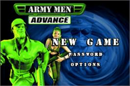 Title screen of Army Men: Advance on the Nintendo Game Boy Advance.