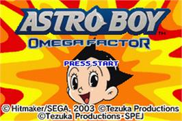 Title screen of Astro Boy: Omega Factor on the Nintendo Game Boy Advance.
