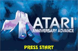 Title screen of Atari Anniversary Advance on the Nintendo Game Boy Advance.