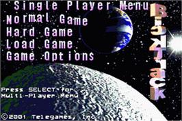Title screen of BackTrack on the Nintendo Game Boy Advance.