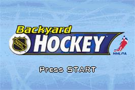 Title screen of Backyard Hockey on the Nintendo Game Boy Advance.