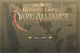 Title screen of Baldur's Gate: Dark Alliance on the Nintendo Game Boy Advance.