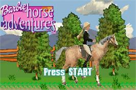 Title screen of Barbie Horse Adventures: Blue Ribbon Race on the Nintendo Game Boy Advance.