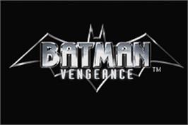 Title screen of Batman: Vengeance on the Nintendo Game Boy Advance.