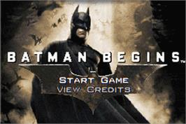 Title screen of Batman Begins on the Nintendo Game Boy Advance.