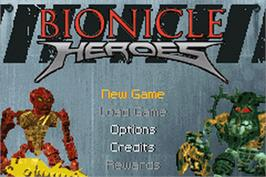 Title screen of Bionicle Heroes on the Nintendo Game Boy Advance.