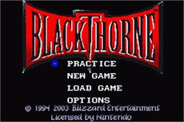 Title screen of Blackthorne on the Nintendo Game Boy Advance.