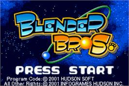 Title screen of Blender Bros. on the Nintendo Game Boy Advance.