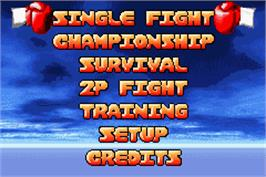 Title screen of Boxing Fever on the Nintendo Game Boy Advance.