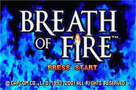 Title screen of Breath of Fire on the Nintendo Game Boy Advance.