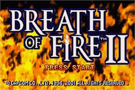 Title screen of Breath of Fire 2 on the Nintendo Game Boy Advance.