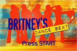 Title screen of Britney's Dance Beat on the Nintendo Game Boy Advance.