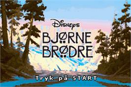 Title screen of Brother Bear on the Nintendo Game Boy Advance.