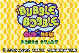 Title screen of Bubble Bobble Old & New on the Nintendo Game Boy Advance.