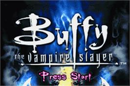 Title screen of Buffy the Vampire Slayer: Wrath of the Darkhul King on the Nintendo Game Boy Advance.
