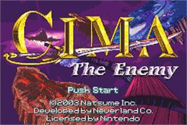 Title screen of CIMA: The Enemy on the Nintendo Game Boy Advance.