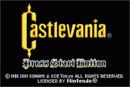 Title screen of Castlevania: Circle of the Moon on the Nintendo Game Boy Advance.