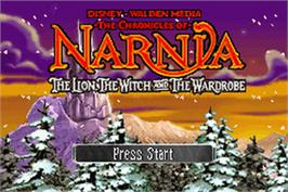 Title screen of Chronicles of Narnia: The Lion, the Witch and the Wardrobe on the Nintendo Game Boy Advance.