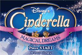 Title screen of Cinderella: Magical Dreams on the Nintendo Game Boy Advance.