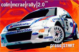 Title screen of Colin McRae Rally 2.0 on the Nintendo Game Boy Advance.