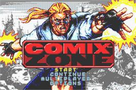 Title screen of Comix Zone on the Nintendo Game Boy Advance.