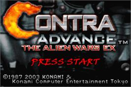 Title screen of Contra Advance: The Alien Wars EX on the Nintendo Game Boy Advance.