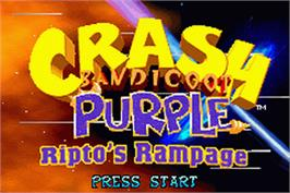 Title screen of Crash Bandicoot Purple: Ripto's Rampage on the Nintendo Game Boy Advance.