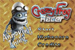Title screen of Crazy Frog Racer on the Nintendo Game Boy Advance.