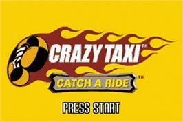 Title screen of Crazy Taxi: Catch a Ride on the Nintendo Game Boy Advance.