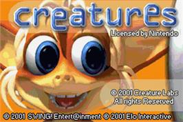 Title screen of Creatures on the Nintendo Game Boy Advance.