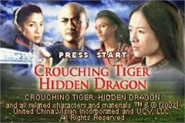 Title screen of Crouching Tiger, Hidden Dragon on the Nintendo Game Boy Advance.