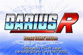Title screen of Darius R on the Nintendo Game Boy Advance.